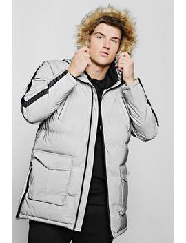 Reflective Quilted Parka With Faux Fur Hood by Boohoo
