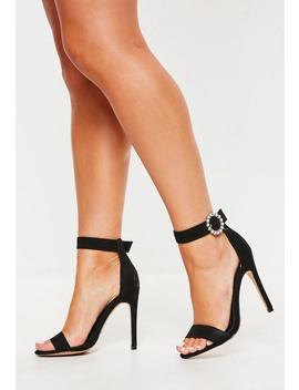 Black Wide Fit Embellished Buckle Barely There Heels by Missguided
