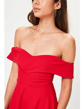 Petite Red Wrap Bardot Skater Dress by Missguided