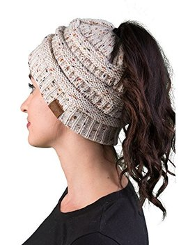 Funky Junque Women's Beanie Ponytail Messy Bun Beanie Tail Multi Color Ribbed Hat Cap by Funky Junque