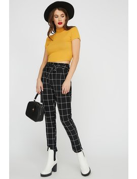 Checkered High Rise Belted Pant by Urban Planet