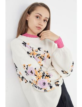 Verona Floral Balloon Sleeve Sweater by Urban Outfitters