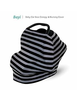 Bayi Baby Infant Car Seat Nursing Cover Canopy Stroller Shopping Cart High Chair Best Multi Use For Babies Super Light Stretchy Breathable Fabric (Black & Grey) by Bayi