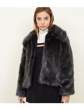 Petite Dark Grey Faux Fur Jacket by New Look