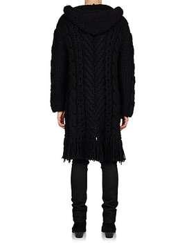 Cable Knit Wool Blend Sweater Coat by Saint Laurent
