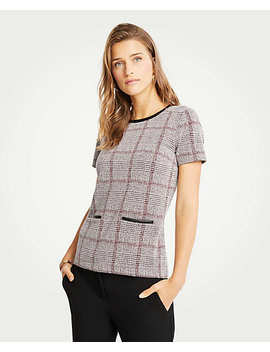 Faux Leather Trim Plaid Pocket Top by Ann Taylor