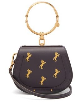 Nile Horse Embroidered Leather Cross Body Bag by Chloé