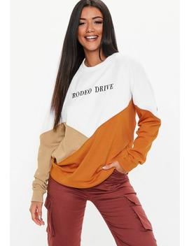White Rodeo Drive Slogan Colour Block Sweatshirt by Missguided