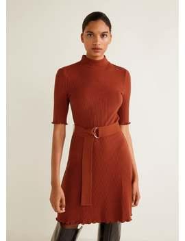 Geripptes Kleid Mit Gürtel by Mango