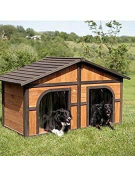 Extra Large Solid Wood Dog Houses   Suits Two Dogs Or 1 Large Breeds. This Spacious Large Dog Kennel Has Two Doors And Can Be Partitioned For Two Dogs. Large Outdoor Dog Bed Has A Raised Bottom And Natural Insulation. Your Perfect Large Dog Bed. by Merry Products