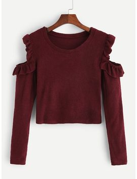 Cold Shoulder Frill Detail Sweater by Sheinside