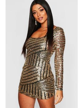 Sequin Mesh Scoop Neck Bodycon Dress by Boohoo