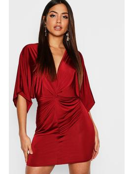 Disco Slinky Twist Front Mini Dress by Boohoo