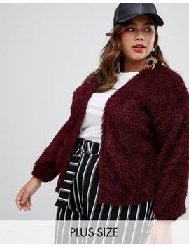 New Look Curve Fluffy Cardigan In Red by New Look Curve