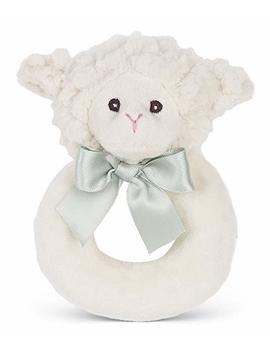 """Bearington Baby Lamby Plush Stuffed Animal Cream Lamb Soft Ring Rattle, 5.5"""" by Bearington Collection"""