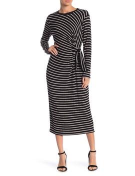 Hacci Striped Brushed Dress by Lush