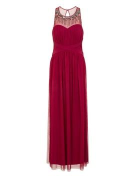**Little Mistress Berry Sheer Neckline Maxi Dress by Dorothy Perkins