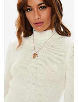 White Fluffy High Neck Sweater Dress by Missguided