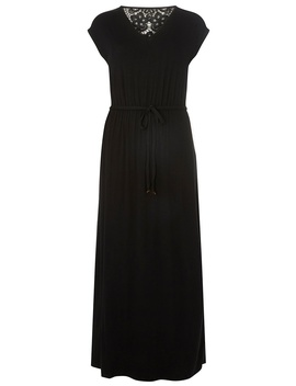Black Crochet Back Jersey Maxi Dress by Dorothy Perkins