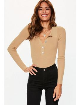 Camel Button Plunge Knitted Collared Bodysuit by Missguided