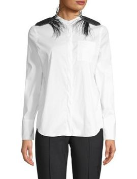 Long Sleeve Plume Trimmed Blouse by Brunello Cucinelli