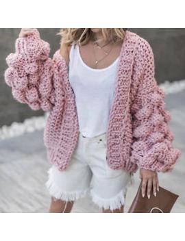 Women Bobble Bubble Sleeve Chunky Knit Open Front Cardigan Jumper Sweater Jacket by Ebay Seller