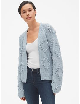 Bobble Stitch Cardigan Sweater In Wool Blend by Gap