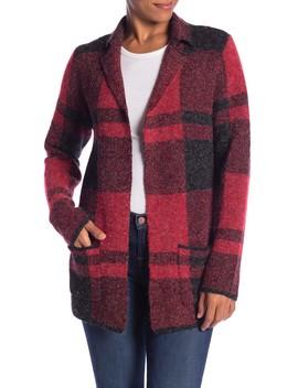 Notch Lapel Plaid Cardigan Coat by Joseph A