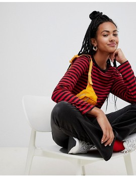 Monki Relaxed Fit Long Sleeve Jersey Top In Red Stripe by Monki