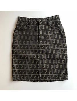 Vintage Authentic Fendi Zucca Denim Monogram Skirt by Ebay Seller