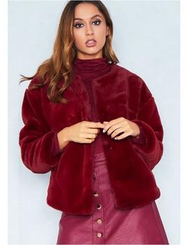 Jess Wine Faux Fur Jacket by Missy Empire