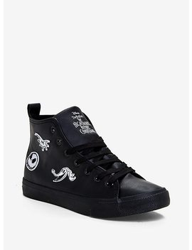 The Nightmare Before Christmas Patches Faux Leather Hi Top Sneakers by Hot Topic