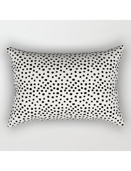 Preppy Brushstroke Free Polka Dots Black And White Spots Dots Dalmation Animal Spots Design Minimal Rectangular Pillow by