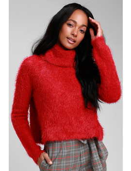 Bat Your Lashes Red Eyelash Knit Turtleneck Cropped Sweater by Jack By Bb Dakota