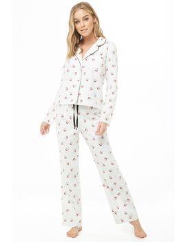 Santa Print Pajama Set by Forever 21
