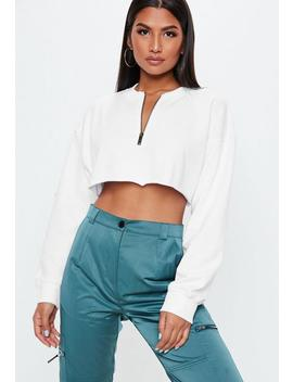 Tall White Zip Front Cropped Sweater by Missguided