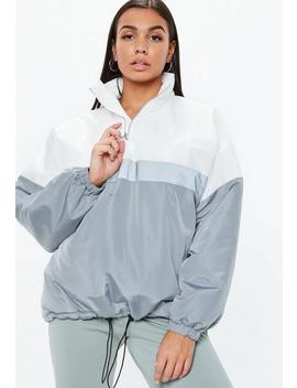 Grey Colourblock Zip Front Jacket by Missguided
