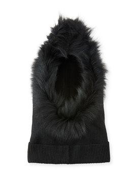 Paulina Cashmere Fur Trim Hood by Eugenia Kim