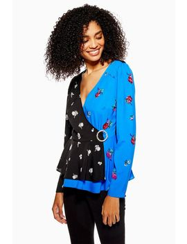 Mixed Printed Wrap Blouse by Topshop