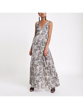 Grey Paisley Tie Back Plunge Maxi Dress by River Island