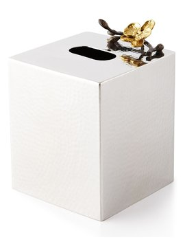Gold Orchid Tissue Box Cover by Michael Aram