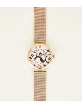Gold Minnie Mouse Mesh Strap Disney Watch by New Look