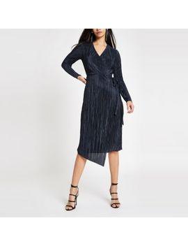 Navy Plisse Wrap Front Midi Dress by River Island