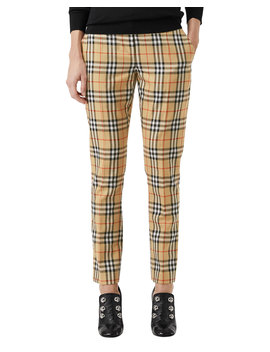 Hanover Plaid Wool Cigarette Pants by Burberry