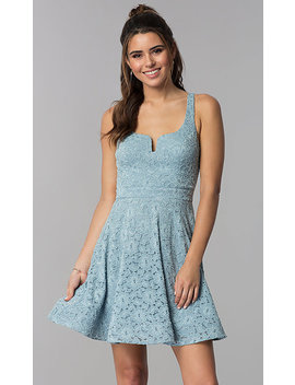Short Blue Lace Square Neck Wedding Guest Dress by Promgirl