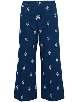 Embroidered High Rise Wide Leg Jeans by Stella Mc Cartney
