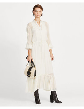 Ruffle Trim Chiffon Dress by Ralph Lauren