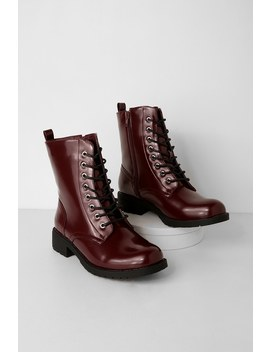 Bellah Oxblood Patent Lace Up Combat Boots by Lulus