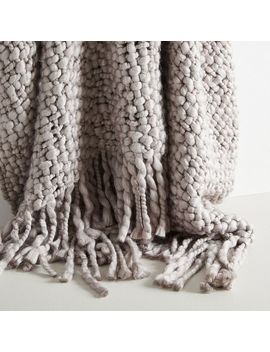 "Solid Basketweave Throw, 50""X60"", Platinum by West Elm"