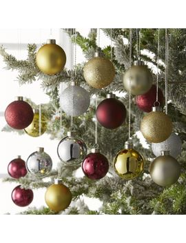 Tonal Gold/Wine Medium Ball Ornaments, Set Of 18 by Crate&Barrel